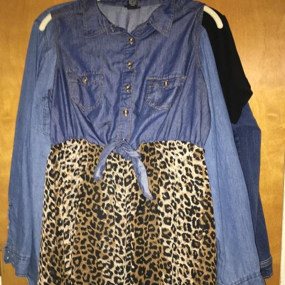 Rue21 Dresses & Skirts - Denim/Cheetah Dress